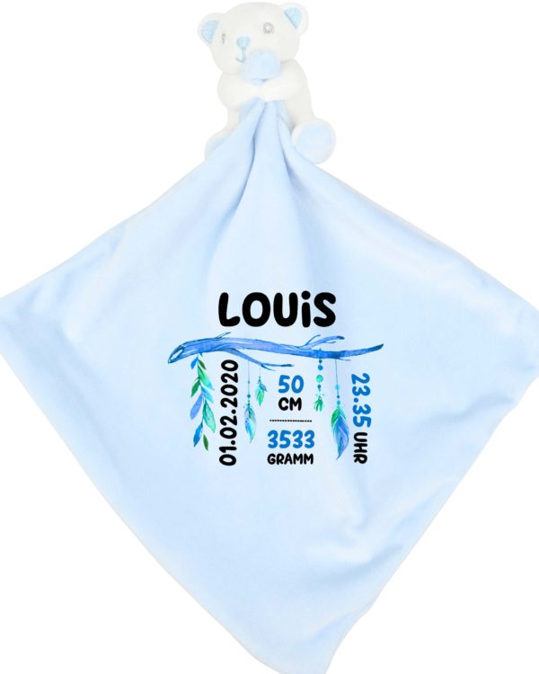 Schmusetuch blau mit Geburtsdaten