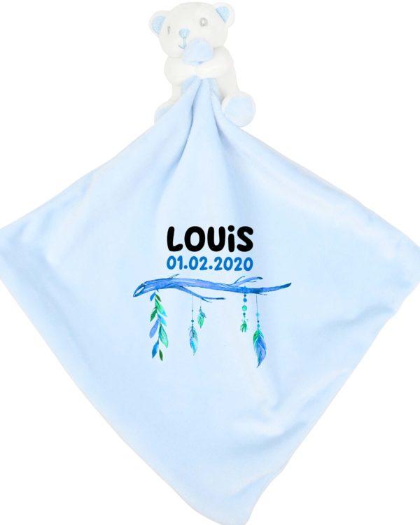Schmusetuch blau mit Name und Geburtsdaten